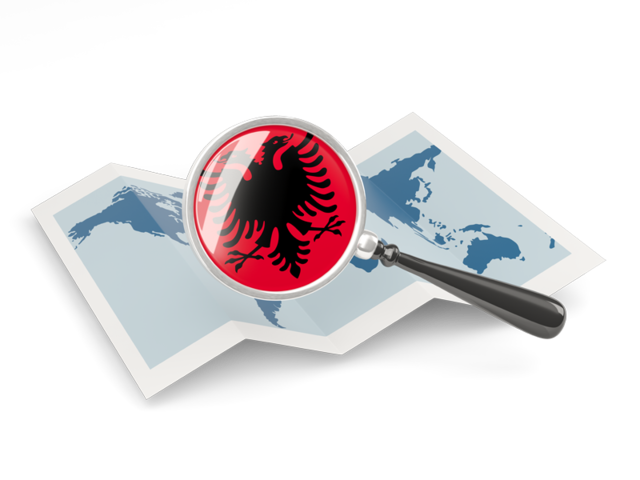 albania_magnified_flag_with_map_640